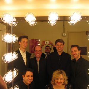 En arrière scène au Carnegie Hall, Passion selon St-Jean, mars 2012 (gauche à droite) Ian Bostridge, Nick Phan, Neal Davies, Hanno Mülller-Brachmann, Moi, Damien Guillon
